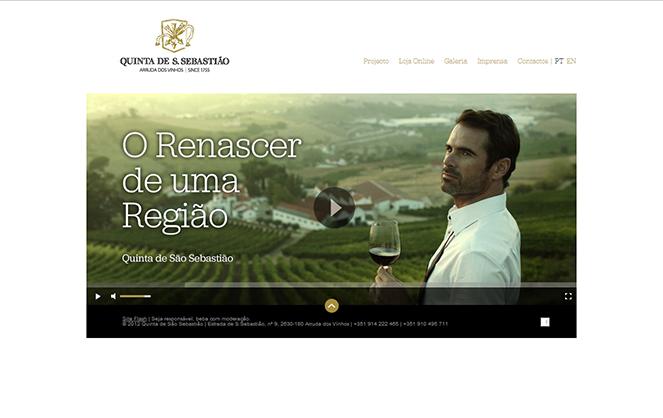 Homepage do site da Quinta de São Sebastião (não desenvolvida pela Curiosidade)